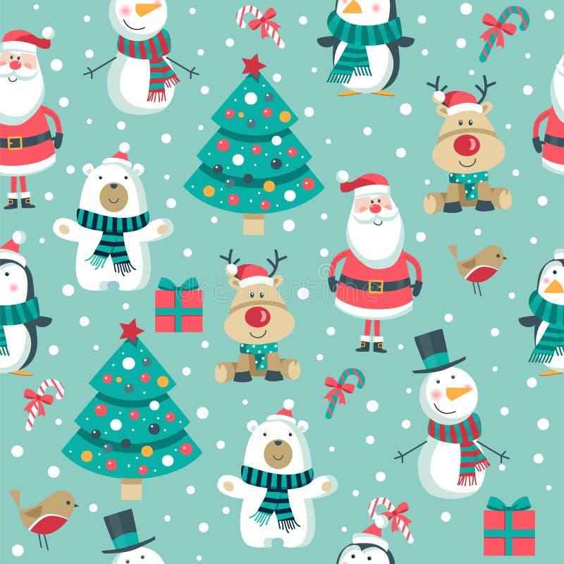 Картина с Санта, дерево рождества, полярный медведь снеговик, олени и пингвин , иллюстрация вектора
