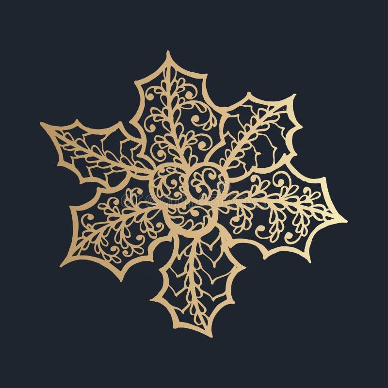 картина с флористическим орнаментом шнурка для собрания рождества иллюстрация вектора