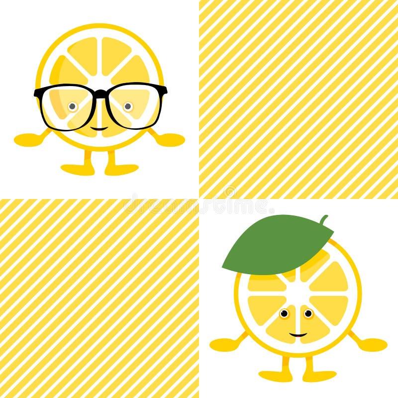Картина с характером улыбки лимона милым в стеклах бесплатная иллюстрация