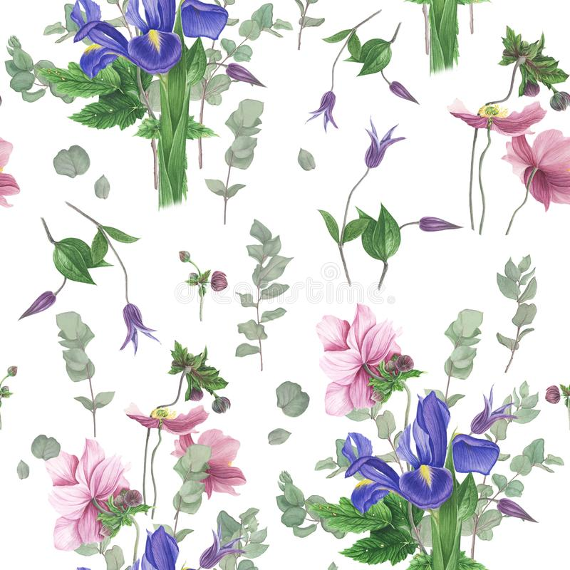 Картина с цветками весны, картина акварели иллюстрация вектора
