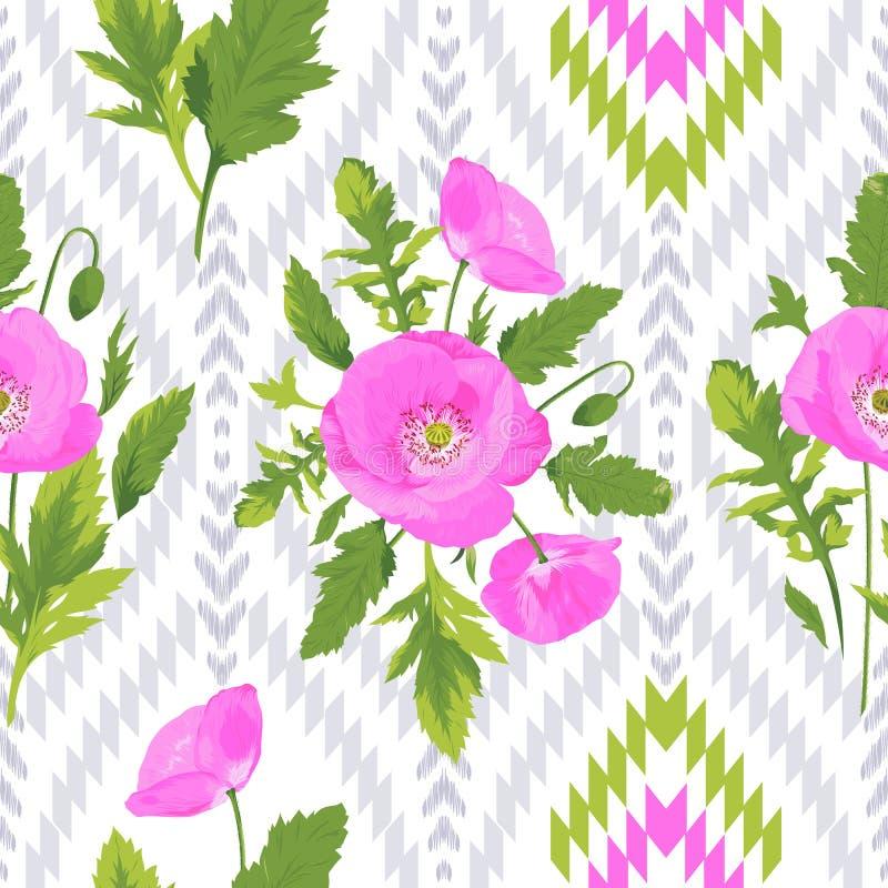 Картина с цветками, листьями, элементами ikat иллюстрация вектора