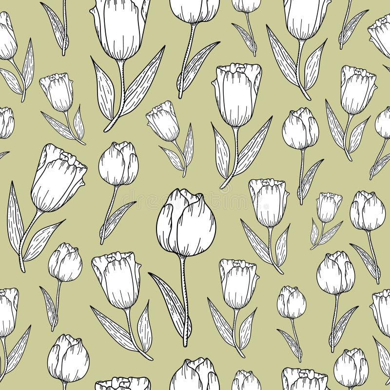 Картина с черно-белыми тюльпанами иллюстрация штока