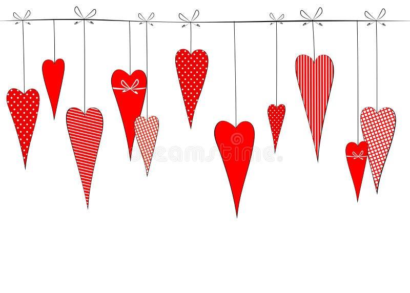 Картина с чертежом сердец doodles в горохах striped предпосылка клетки декоративная романтичная для карт свадьбы дня Валентайн иллюстрация вектора
