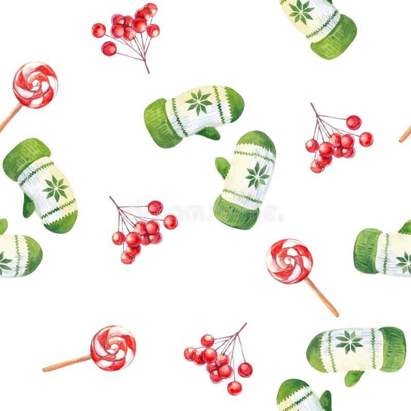 Картина с mittens, рябина акварели безшовная разветвляет с иллюстрация штока