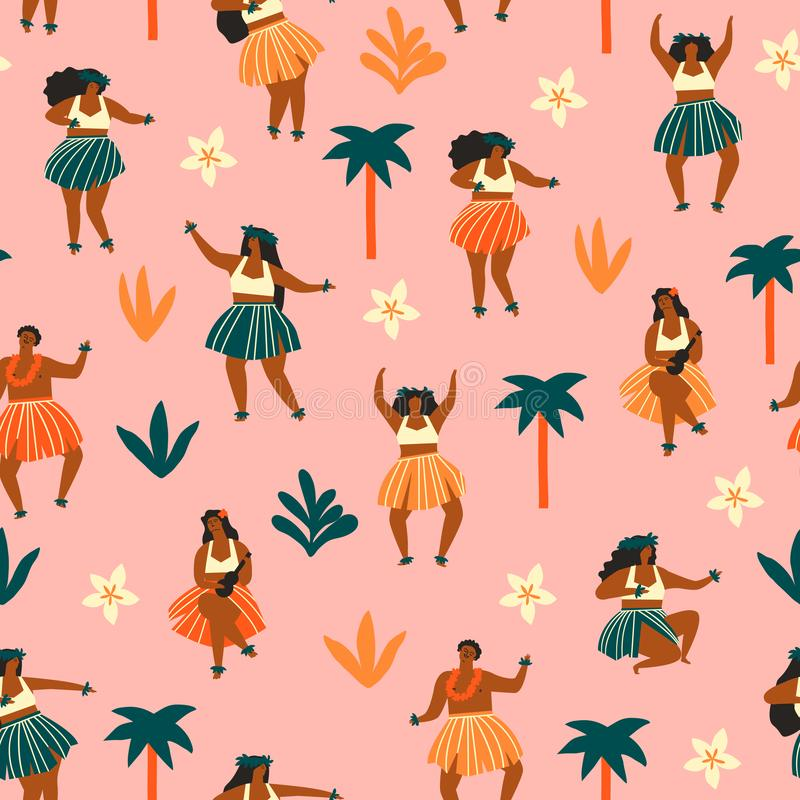 Картина танца Гаваи безшовная Танцоры женщин играя гавайскую гитару и танцуя Hula Печать лета перемещения стоковые фотографии rf