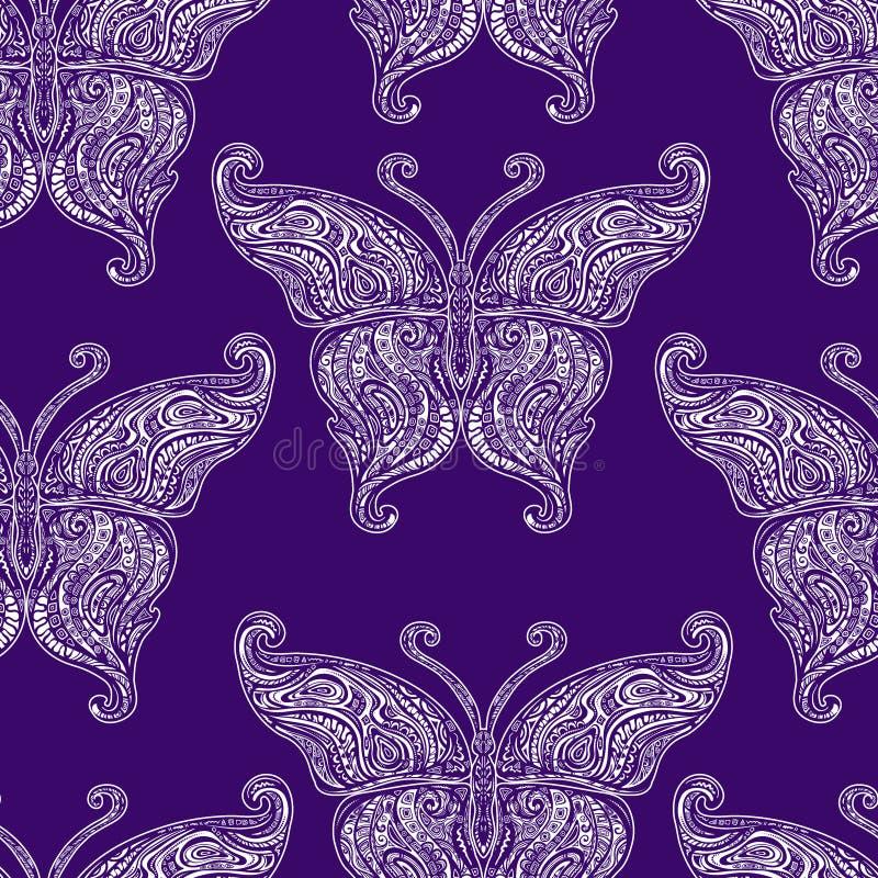 Картина татуировки бабочки вектора безшовная иллюстрация вектора