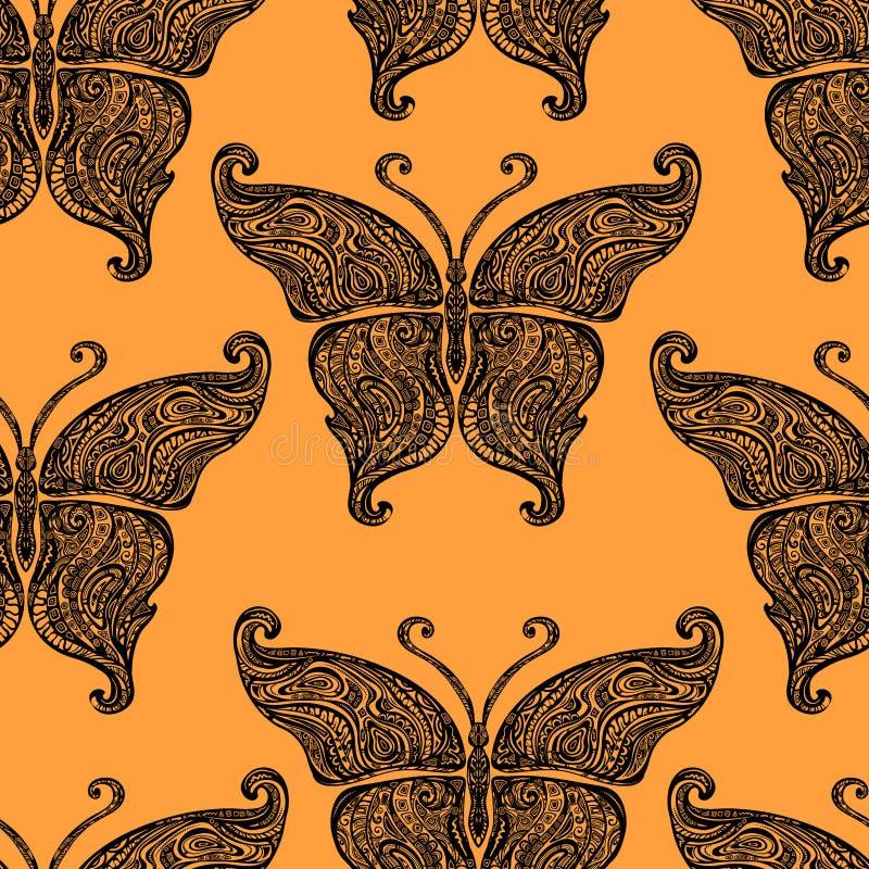 Картина татуировки бабочки вектора безшовная иллюстрация штока