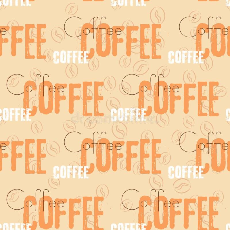 Картина текста кофе безшовная Бежевое слово бесплатная иллюстрация
