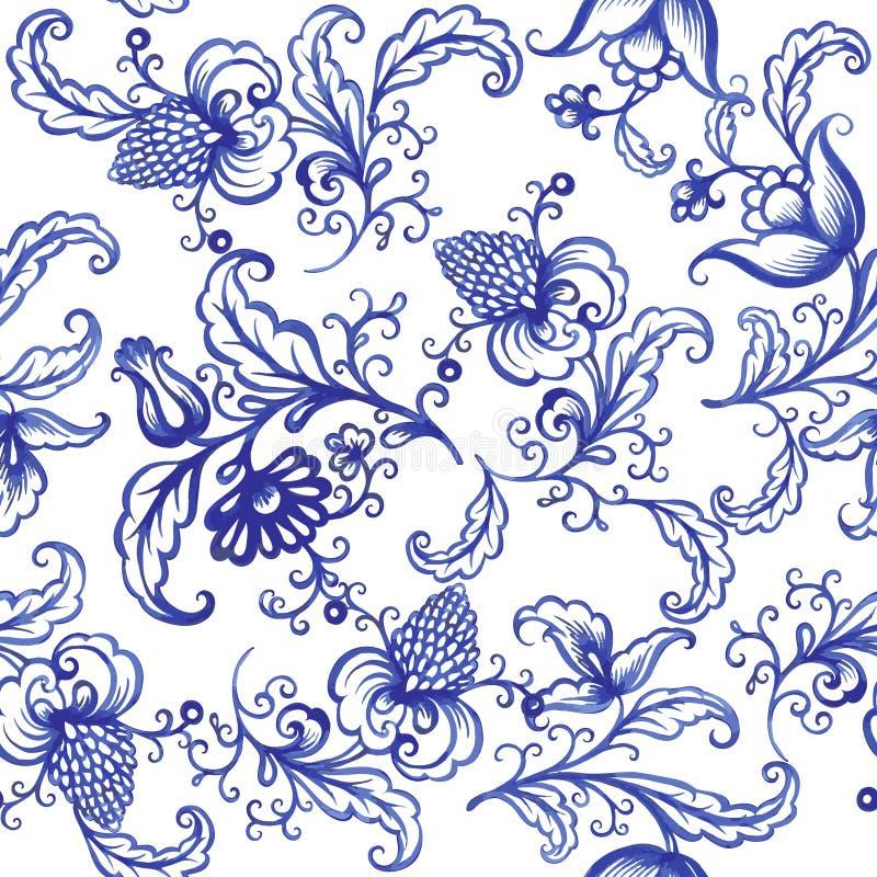 Картина текстуры акварели вектора флористическая с цветками иллюстрация штока