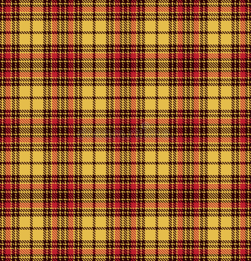 Картина текстуры шотландки проверки тартана безшовная в желтой, красном цвете и коричневом цвете иллюстрация вектора