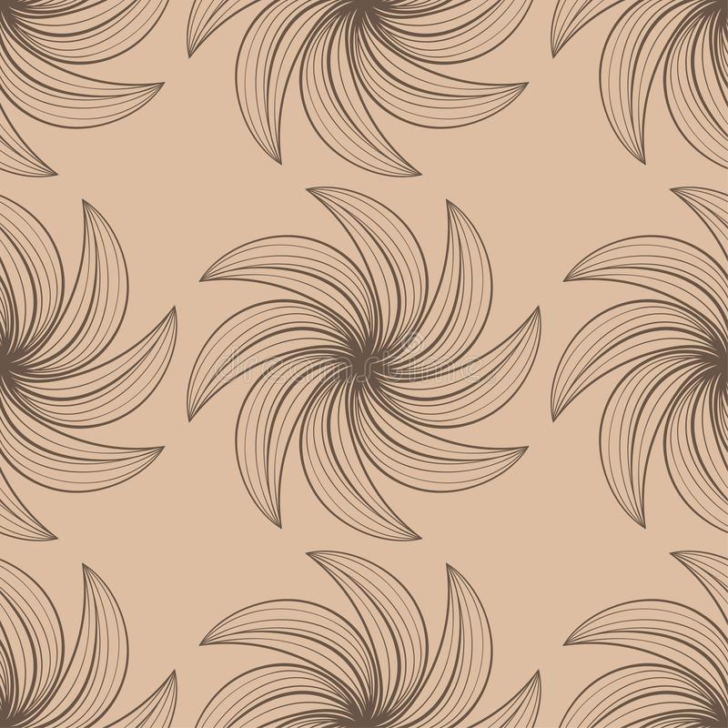 Картина темного коричневого цвета флористическая безшовная на бежевой предпосылке иллюстрация штока