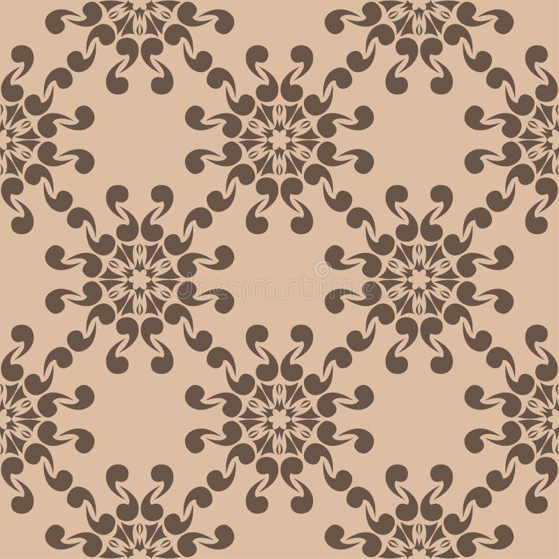 Картина темного коричневого цвета флористическая безшовная на бежевой предпосылке бесплатная иллюстрация