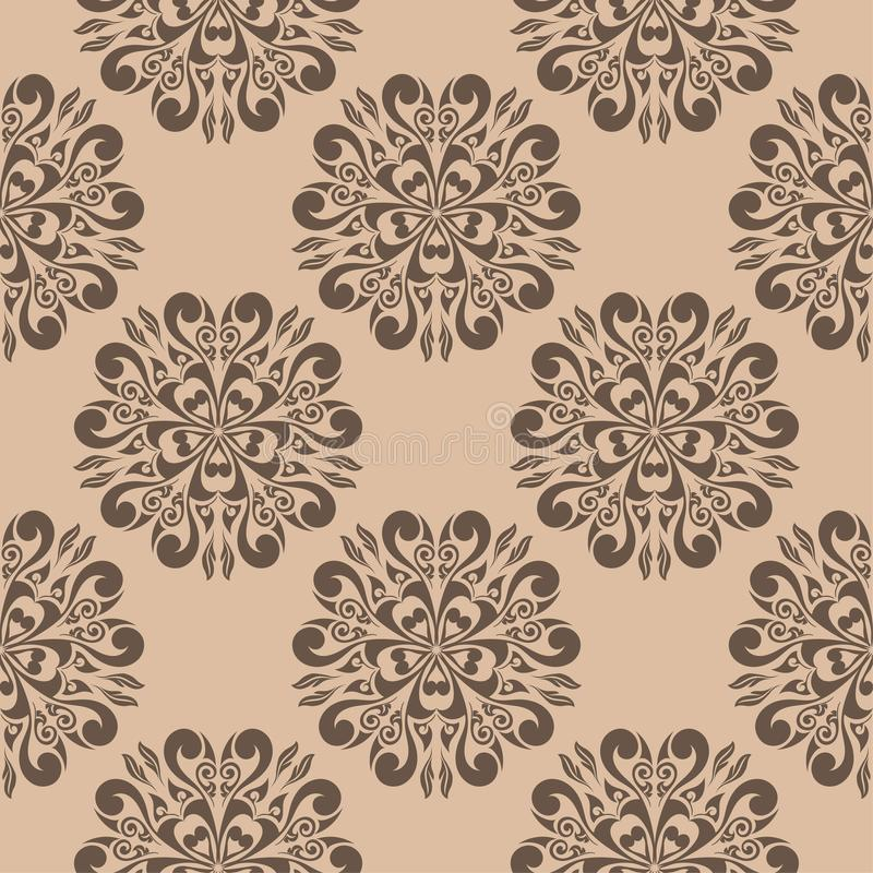 Картина темного коричневого цвета флористическая безшовная на бежевой предпосылке иллюстрация вектора