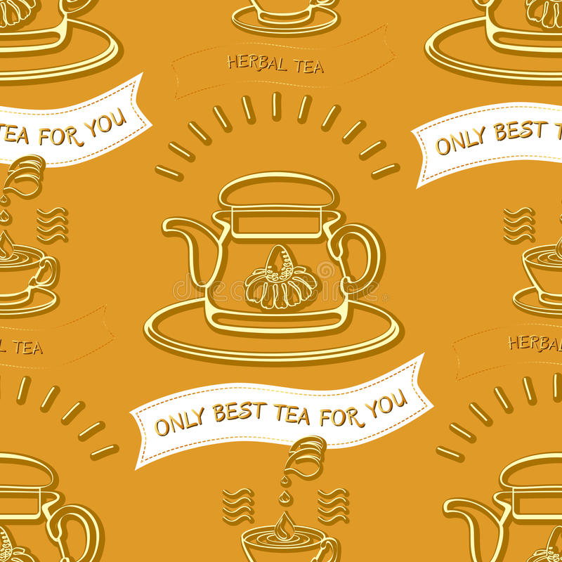 Картина темы травяного чая безшовная Предпосылка вектора с silhou иллюстрация вектора