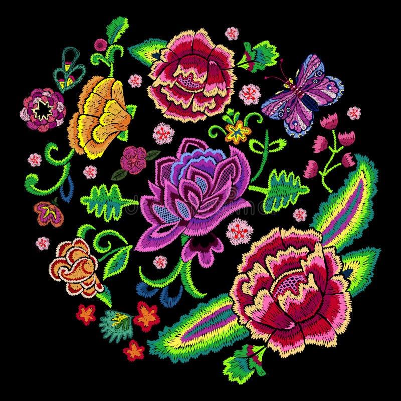 Картина тенденции вышивки круглая с красочным упрощает иллюстрация вектора