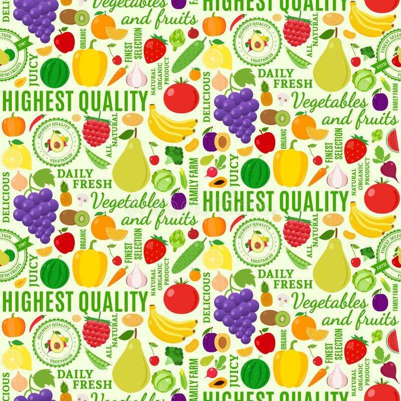 Картина типографских фруктов и овощей вектора безшовная бесплатная иллюстрация