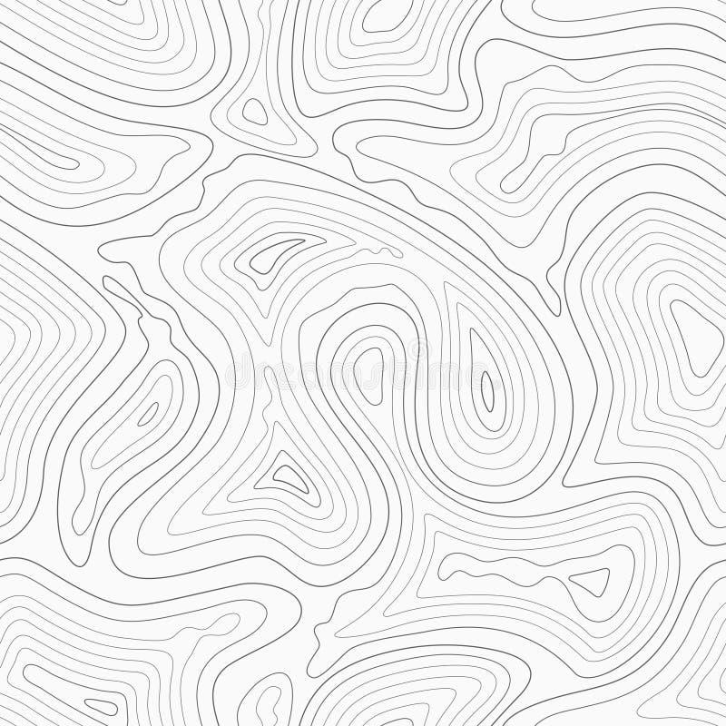 Картина топографической карты вектора линий контура безшовная иллюстрация вектора