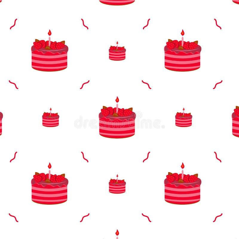 Картина торта, праздничный десерт с клубниками и горящая свеча иллюстрация вектора