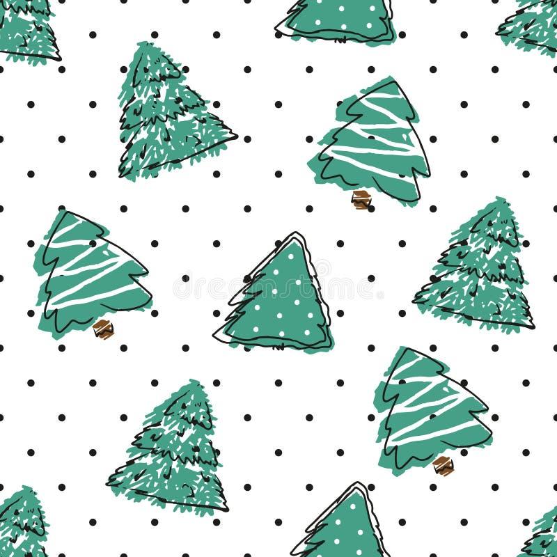 Картина точки польки безшовная с елями зеленого цвета притяжки руки иллюстрация штока