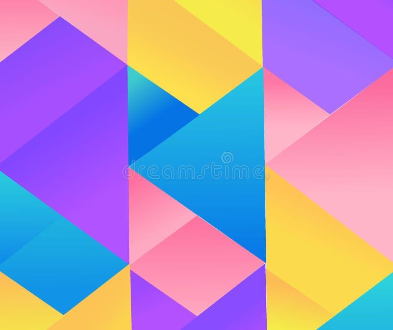 Картина треугольника геометрии вектора современная безшовная красочная, предпосылка цвета абстрактная геометрическая, печать поду иллюстрация вектора
