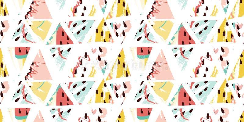Картина треугольников конспекта лета мороженого арбуза безшовная r иллюстрация штока