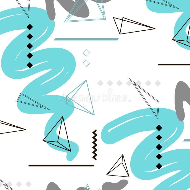 Картина треугольника вектора в цвете голубого серого цвета Геометрическое абстрактное украшение Повторите дизайн плитки Печать ми бесплатная иллюстрация