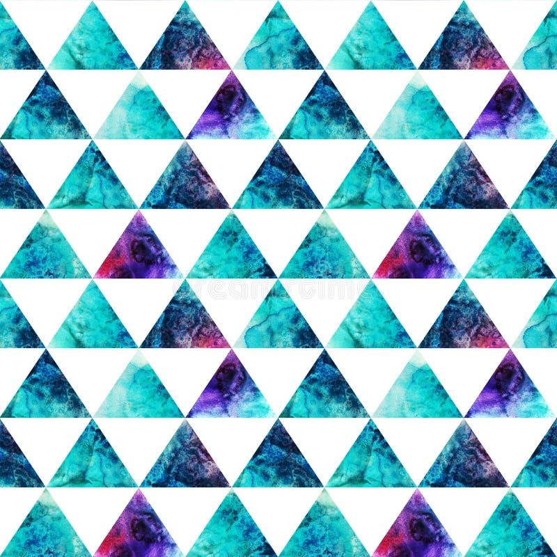 Картина треугольников акварели безшовная. Современный битник безшовный p иллюстрация вектора