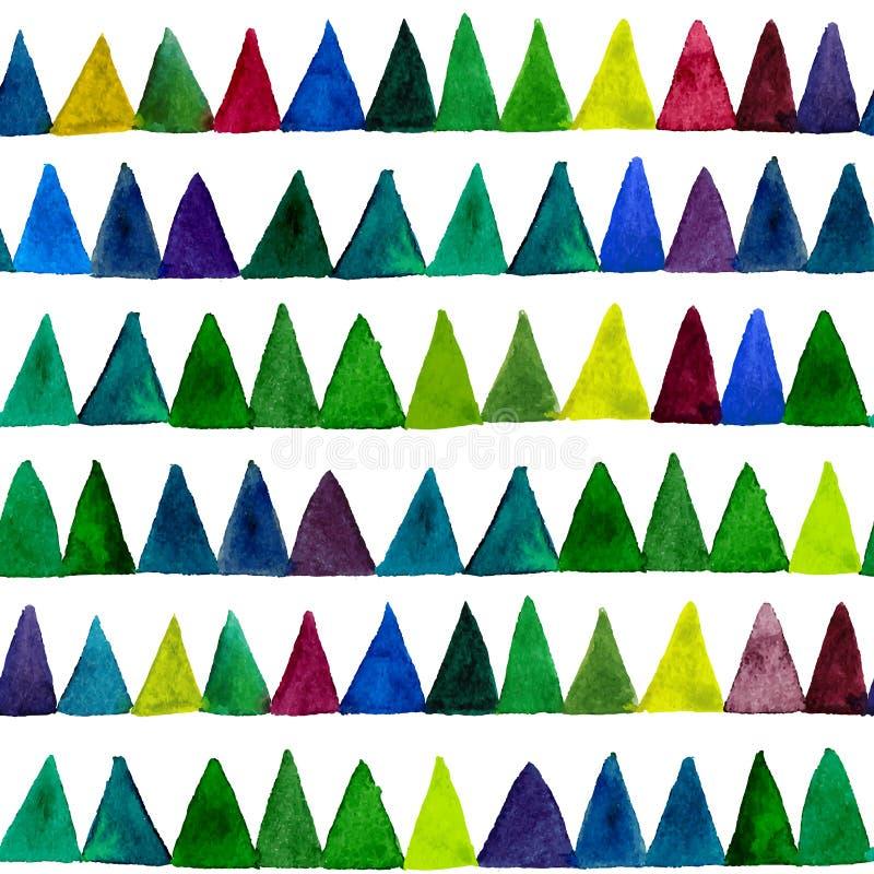 Картина треугольников акварели вектора безшовная самомоднейшая картина безшовная Красочная текстура в шаблоне геометрии Картина G иллюстрация вектора