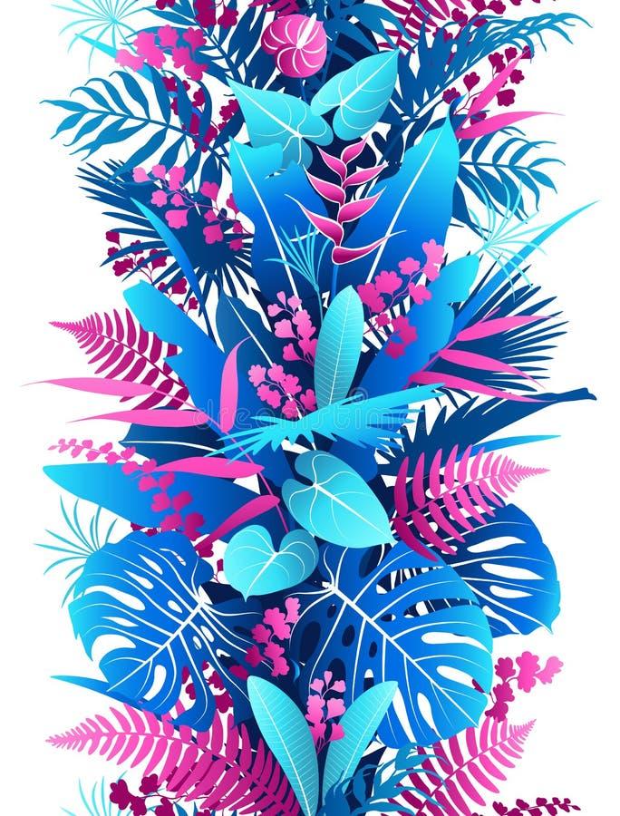 Картина тропических заводов красочная вертикальная безшовная иллюстрация штока
