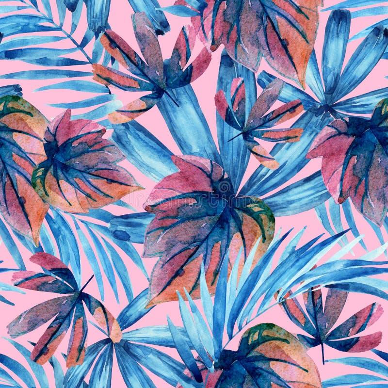 Картина тропических листьев акварели покрашенная синью безшовная иллюстрация вектора
