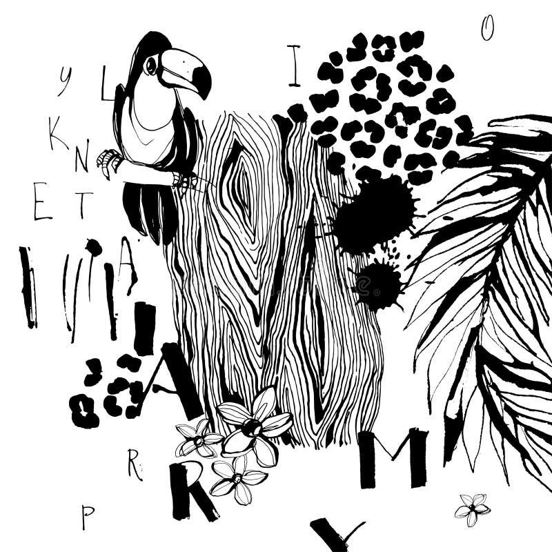 Картина тропических птиц, ладоней, цветков и писем Grungy стиль чернил Художнический творческий всеобщий цветочный узор Te нарисо иллюстрация вектора