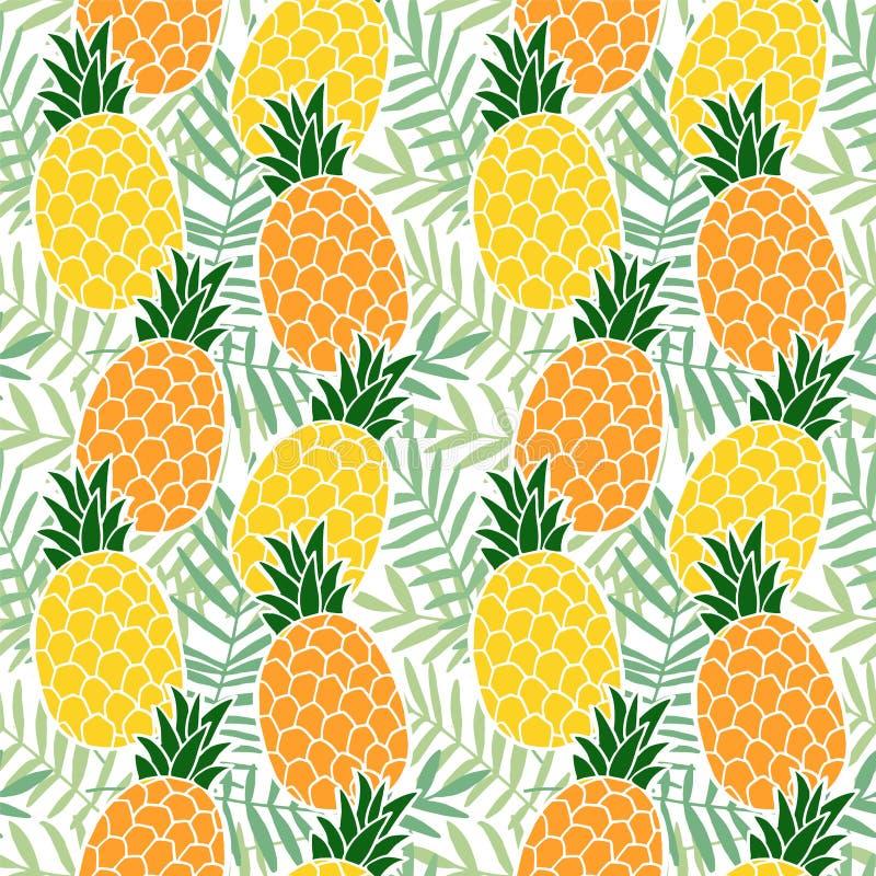 Картина тропического лета безшовная Плодоовощ ананаса, листья ладони Дизайн Гаваи плоский вектор иллюстрация вектора