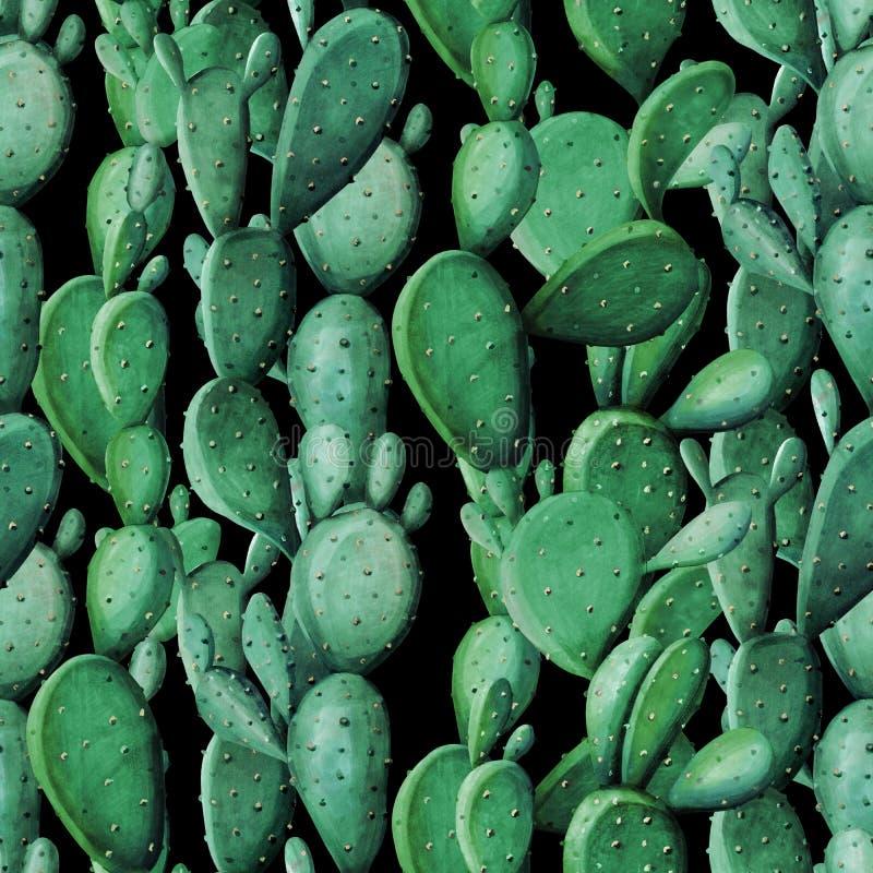 Картина тропического сада кактуса акварели безшовная стоковые изображения