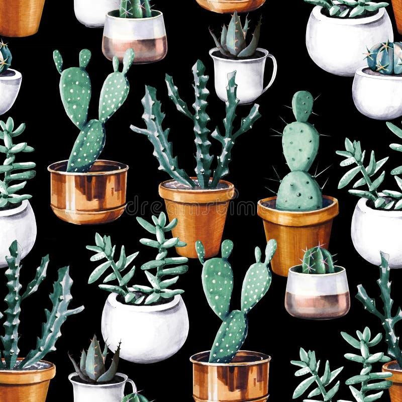 Картина тропического сада пустыни кактуса акварели безшовная Картина кактуса Watercolour стоковое фото
