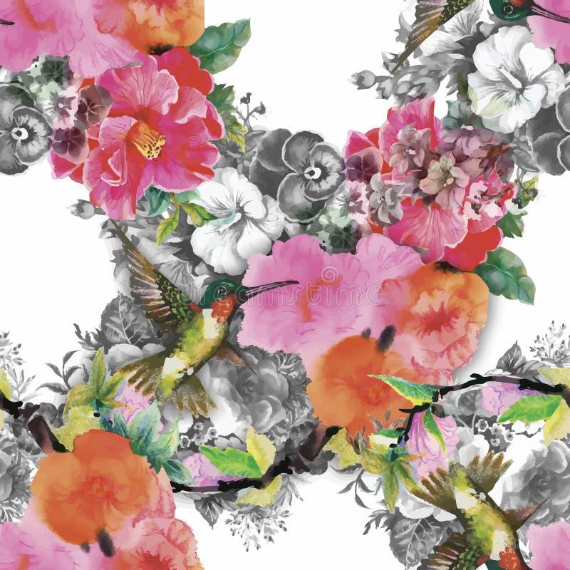 Картина тропической флористической акварели безшовная с colibris и цветками самана коррекций высокая картины photoshop качества р иллюстрация штока