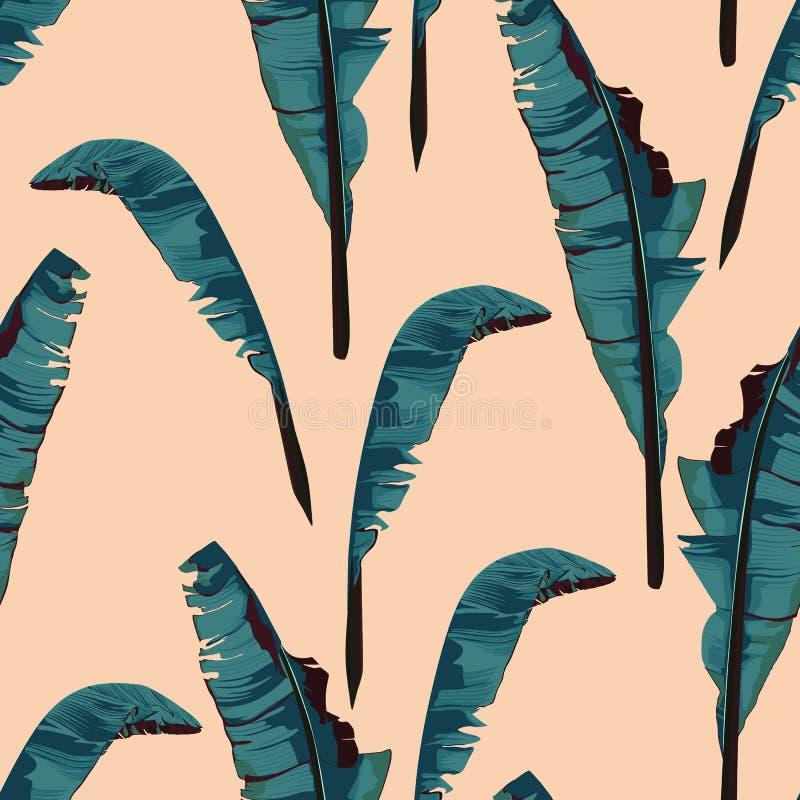 Картина троповой картины лета безшовная с лист банана ладони Обои ультрамодного пука экзотические на бежевой предпосылке бесплатная иллюстрация