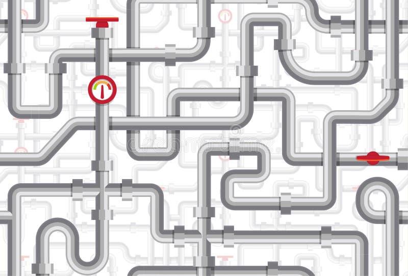Картина труб безшовная Лабиринт трубопроводов Текстура котельной Иллюстрация вектора трубопровода Плоский дизайн безшовный иллюстрация вектора