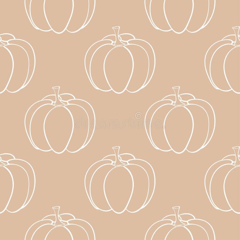 Картина тыквы хеллоуина Предпосылка Брайна бежевая безшовная иллюстрация штока