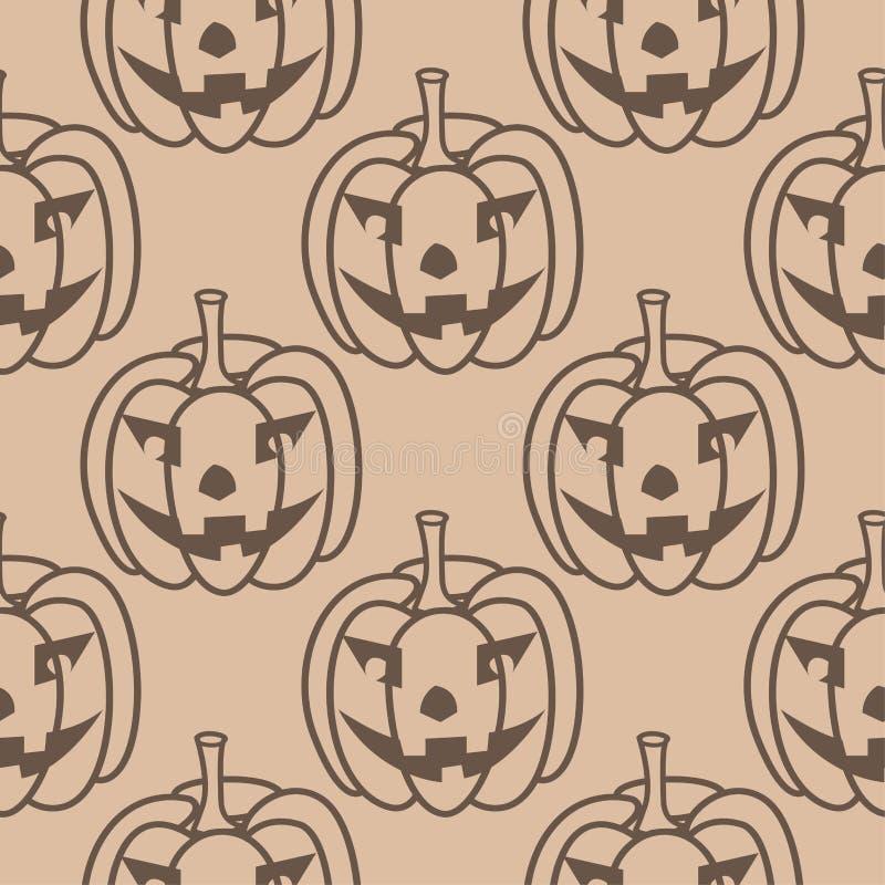 Картина тыквы хеллоуина Предпосылка Брайна бежевая безшовная бесплатная иллюстрация