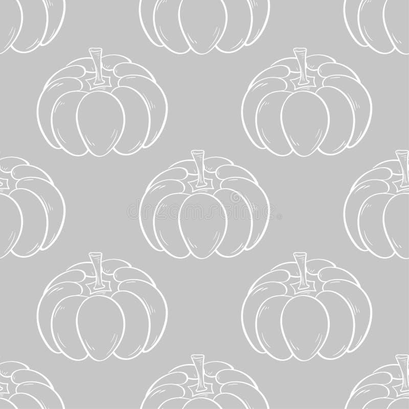 Картина тыквы хеллоуина Серая и белая безшовная предпосылка бесплатная иллюстрация