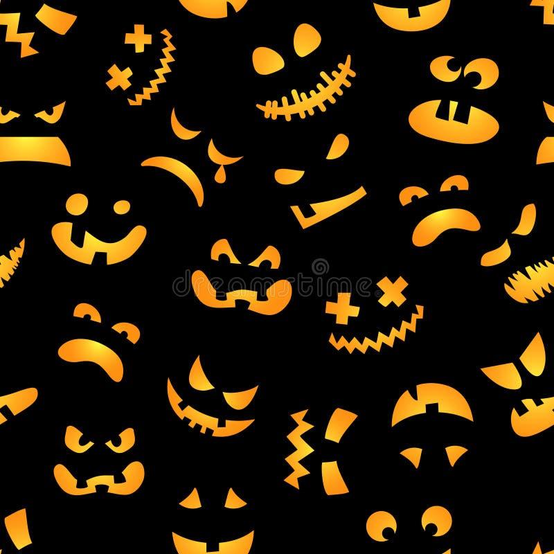 Картина тыквы Halloween безшовная Красные тыквы на черной предпосылке также вектор иллюстрации притяжки corel иллюстрация вектора