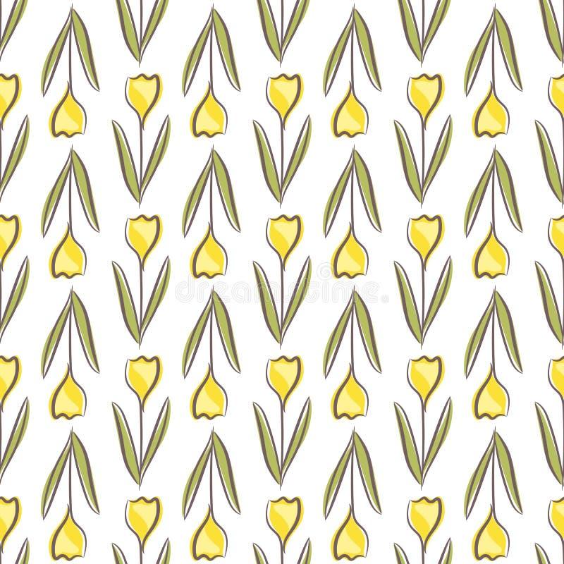 Картина тюльпана флористическая безшовная с желтыми цветками формирует на белой предпосылке стоковые изображения rf