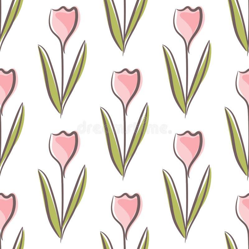 Картина тюльпана флористическая безшовная с красочными цветками формирует на белой предпосылке иллюстрация вектора