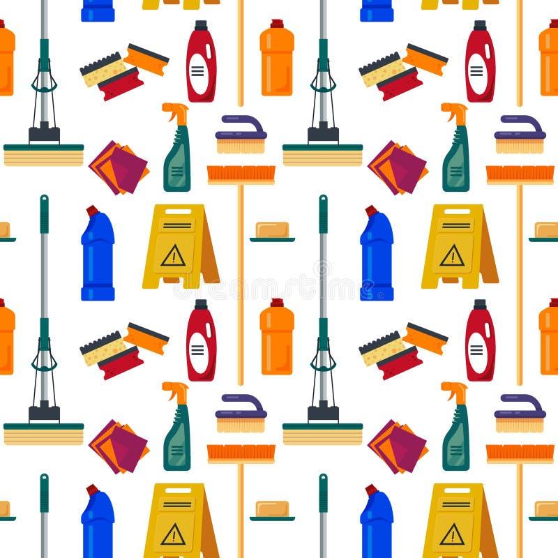 Картина уборки безшовная Расквартируйте инструменты, плоскую иллюстрацию, предпосылку бытовой техники, cleanser, mop, губку, n бесплатная иллюстрация