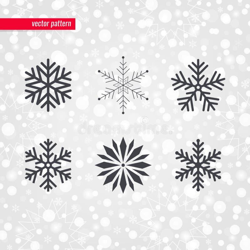 Картина украшения снежинки Символы вектора на рождество & Новый Год Знаки снега зимнего отдыха декоративные иллюстрация вектора