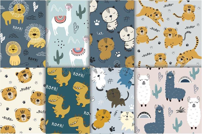Картина установила с различными животными для одежд детей, ткани иллюстрация штока