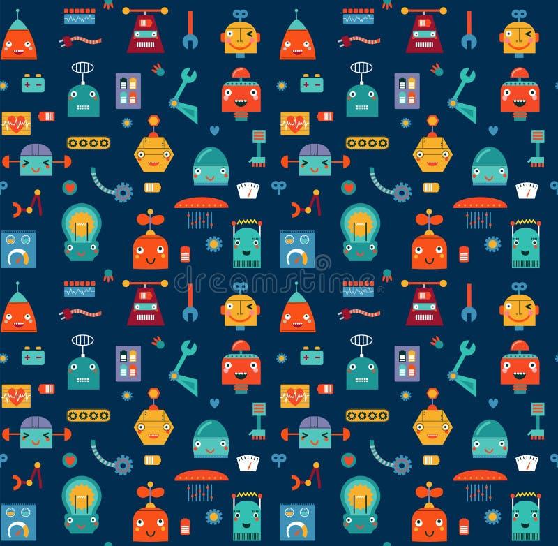 Картина установленных милых роботов безшовная бесплатная иллюстрация