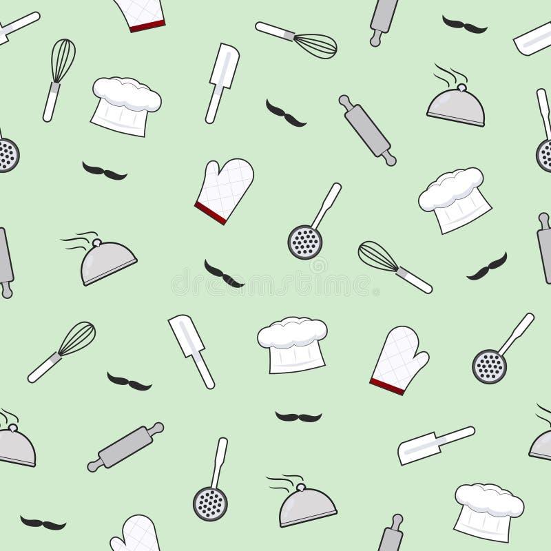 Картина утварей кухни безшовная на зеленой предпосылке, инструментах кухни варя оборудование бесплатная иллюстрация