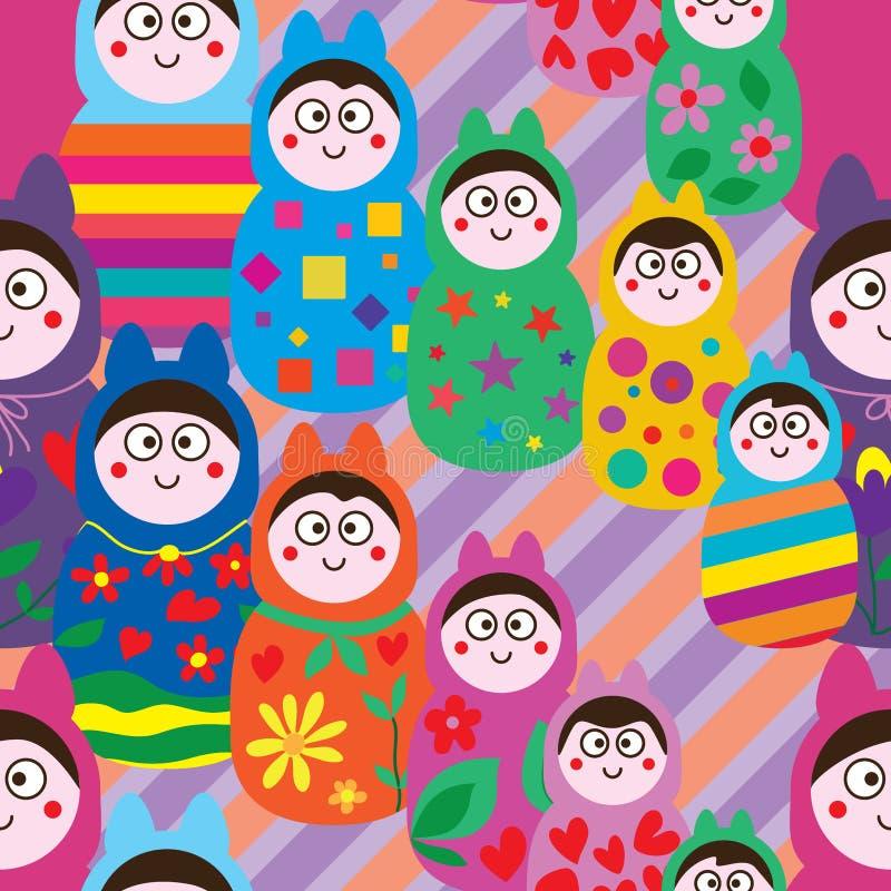 Картина уха куклы России раскосная безшовная иллюстрация вектора