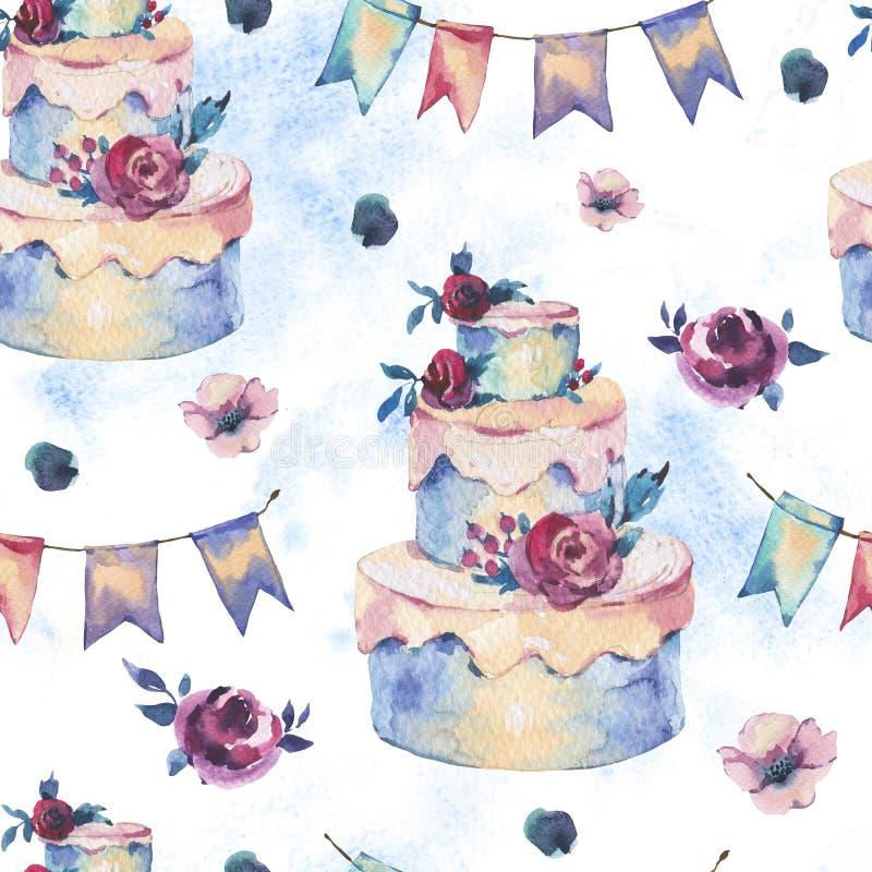 Картина фантазии акварели безшовная со свадебным пирогом, красными розами иллюстрация вектора